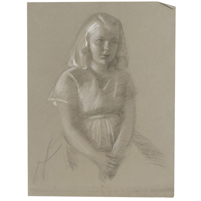 Edmond J. Fitzgerald Charcoal and Chalk Portrait of Girl, Mid-20th Century