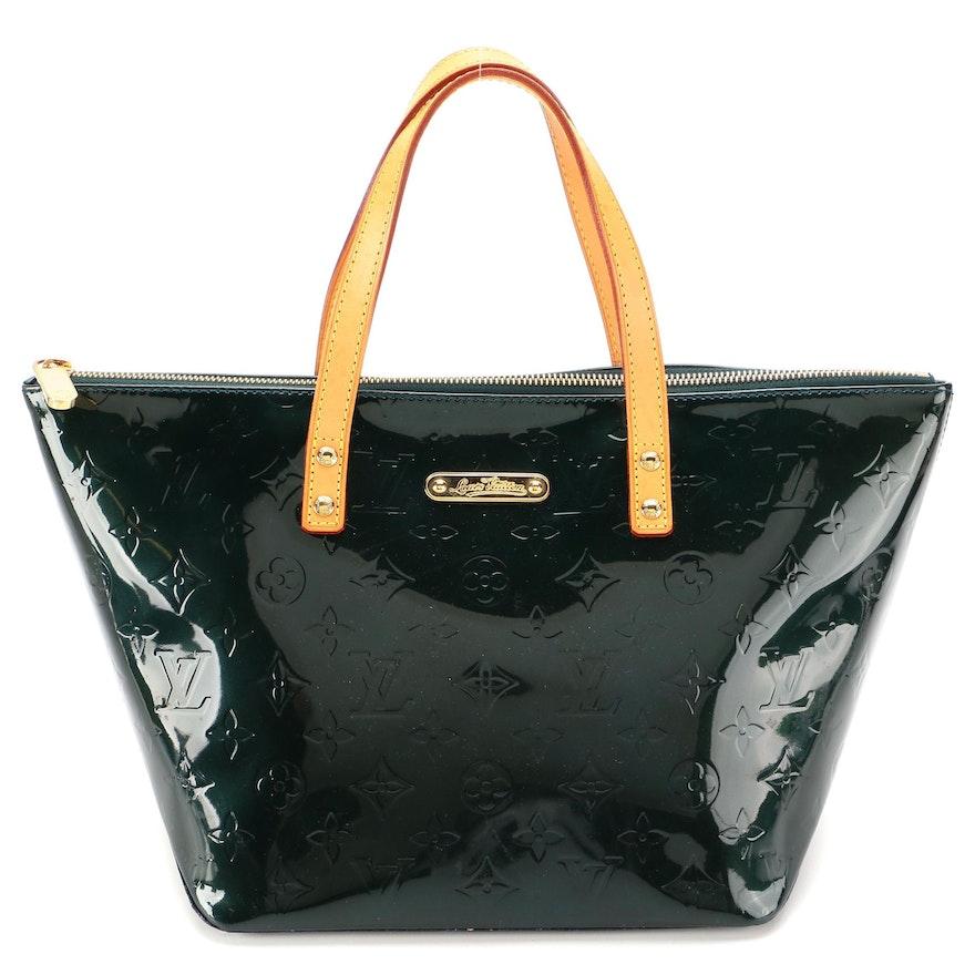 Louis Vuitton Bellevue PM Bag in Dark Green Monogram Vernis