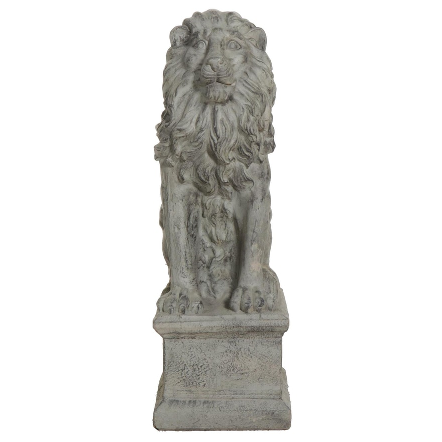 Cast Ceramic Outdoor Lion Figure