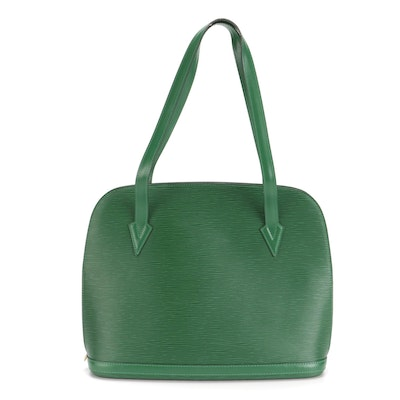 Louis Vuitton Lussac Shoulder Bag in Borneo Green Epi and Smooth Leather