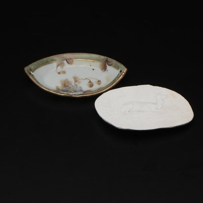 Bas Relief Deer Ceramic Dish and Small Japanese Porcelain Leaf Dish
