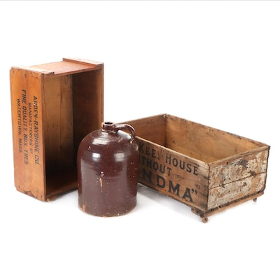 Brown Glazed Stoneware Whiskey Jug, and Wooden Advertising Crates