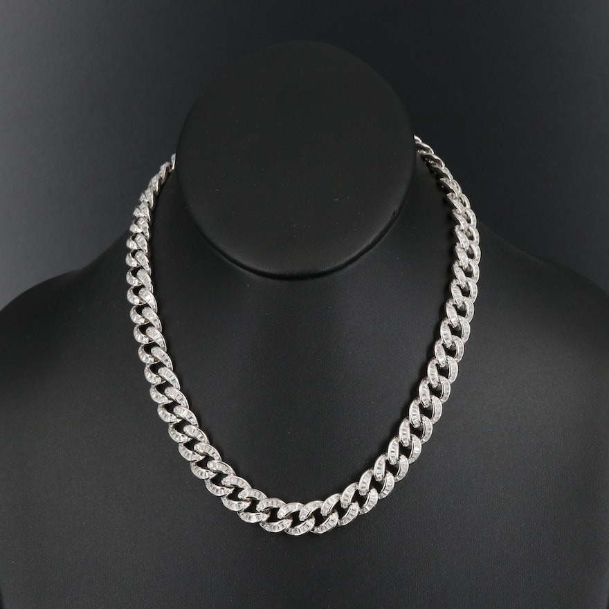 Sterling Cubic Zirconia Curb Chain Necklace