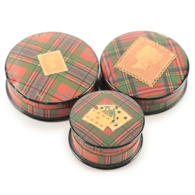 Scottish Tartan Mauchline Stamp and Other Boxes, Late 19th Century
