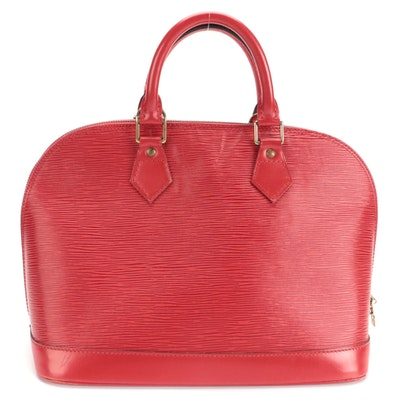 Louis Vuitton Alma PM in Castilian Red Epi and Smooth Leather