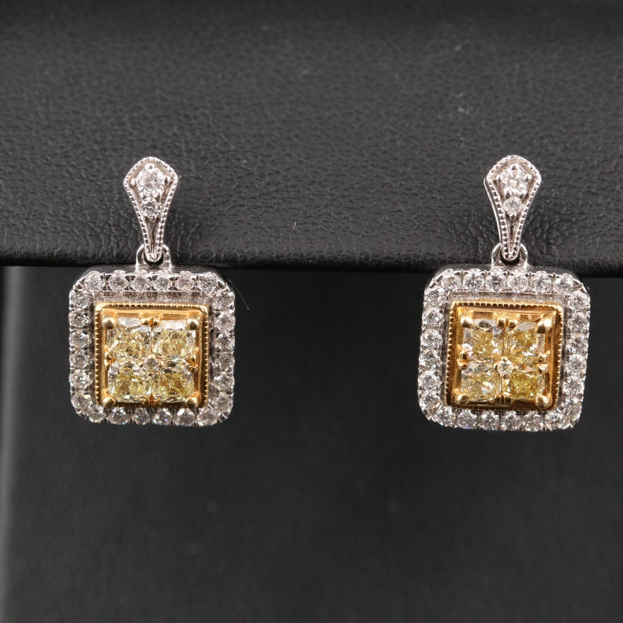 14K 2.03 CTW Diamond Geometric Drop Earrings