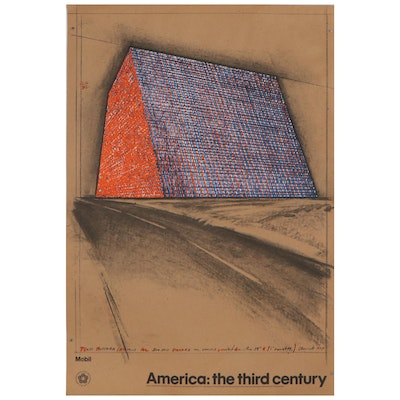 """Lithograph With Halftone After Christo Javacheff """"Wrapped Oil Barrels"""""""