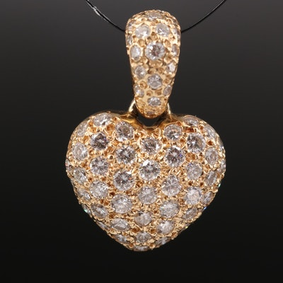 14K 1.92 CTW Pavé Diamond Heart Enhancer Pendant