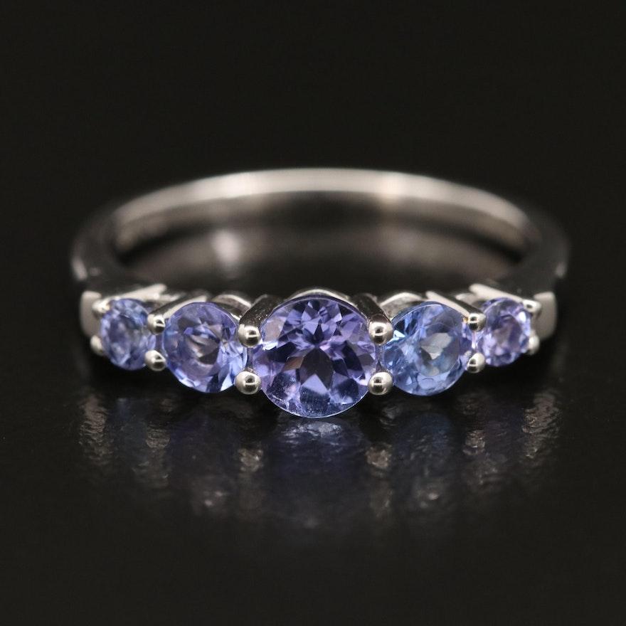18K Five Stone Tanzanite Ring