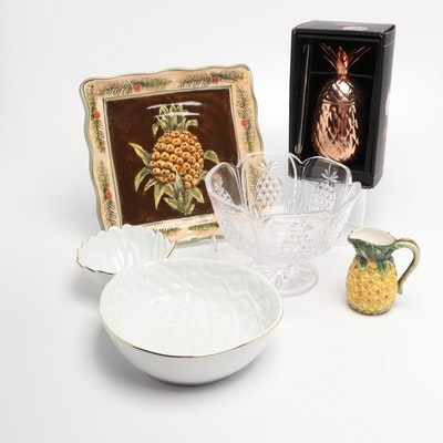 Godinger Pineapple Tumbler with Straw, Crystal Bowl, Cream Pitcher and More