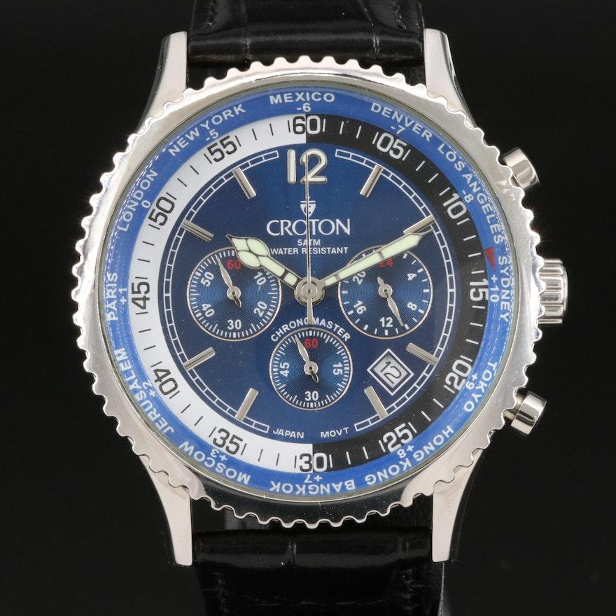Croton Chronomaster World Time Stainless Steel Quartz Wristwatch