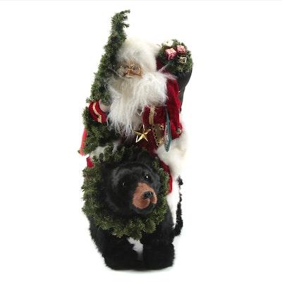 "Lynn Haney Collection ""Christmas Express"" Santa and Bear Figurine, 1999"