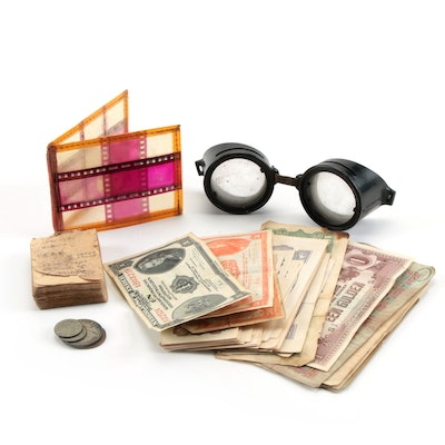 Foreign Coins & Currency, Googles, Booklet, and More, Early to Mid 20th Century