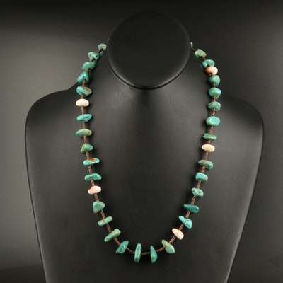 Turquoise and Shell Station Necklace