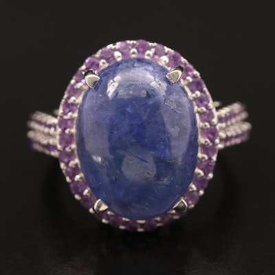 Sterling Tanzanite and Amethyst Ring