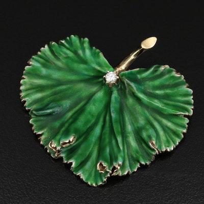 Vintage 14K Diamond and Enamel Cordate Leaf Brooch