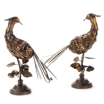 Metal Peacock Statues, Mid to Late 20th Century