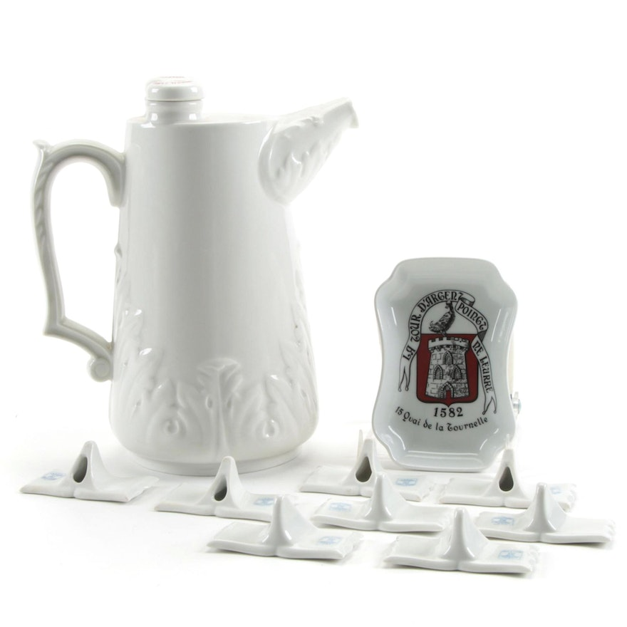 """French """"Lhote"""" Ceramic Seltzer Water  Siphon Pitcher and Other Tableware"""