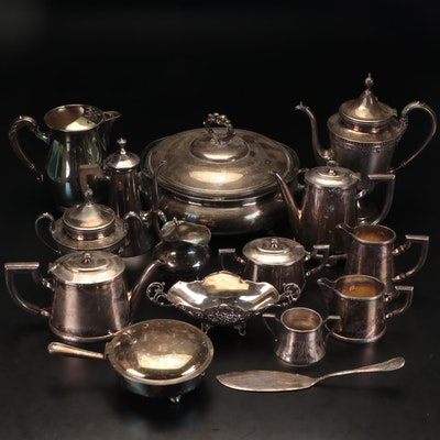 Silver Plate Teapots, Pitchers, and Service Accessories