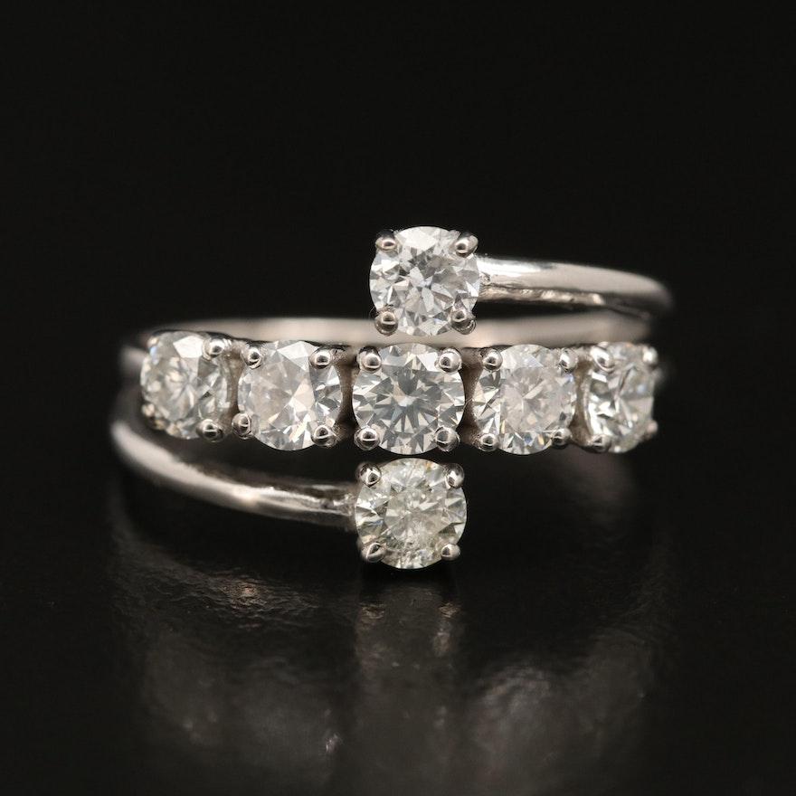 14K 1.22 CTW Diamond Bypass Ring