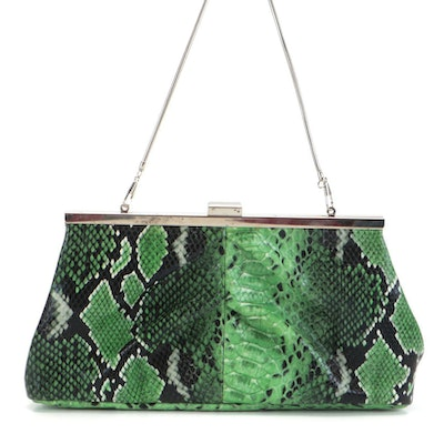 Tasha Clutch in Embossed Green Faux Python Snakeskin Leather