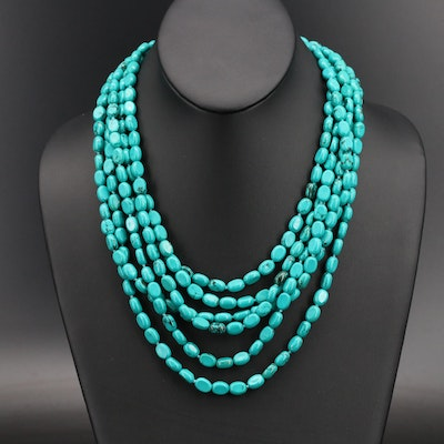 Multi-Strand Magnesite Beaded Necklace with Sterling Clasp