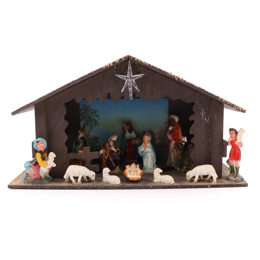 Hand-Painted Wooden Nativity Set with Plastic Figurines