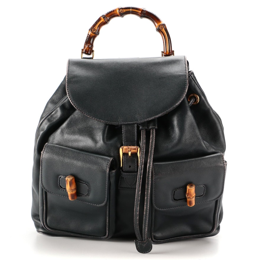 Gucci Large Bamboo Backpack in Navy Leather