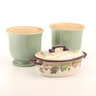 """Tracy Porter """"Claret Collection"""" Casserole Dish and Green Ceramic Cachepots"""
