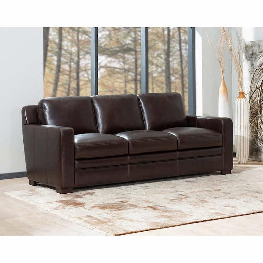 "Simon Li Furniture ""Chanton"" Three-Seat Leather Sofa"
