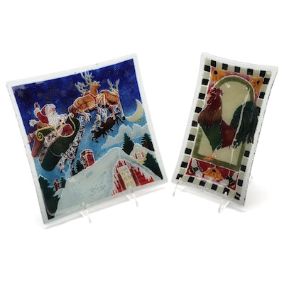 Santa Claus and Rooster Motif Pebbled Art Glass Plates