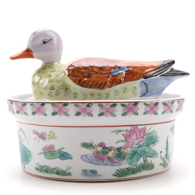 Chinese Famille Rose Style Hand-Painted Ceramic Duck Tureen