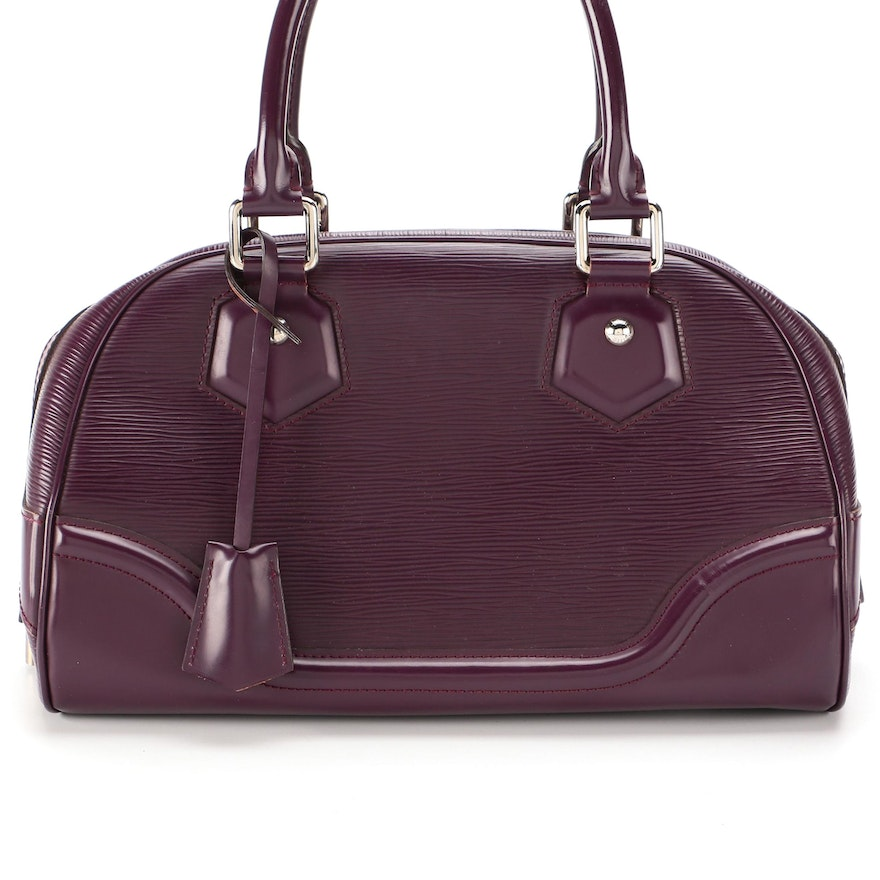 Louis Vuitton Bowling Montaigne PM Handbag in Cassis Epi and Smooth Leather
