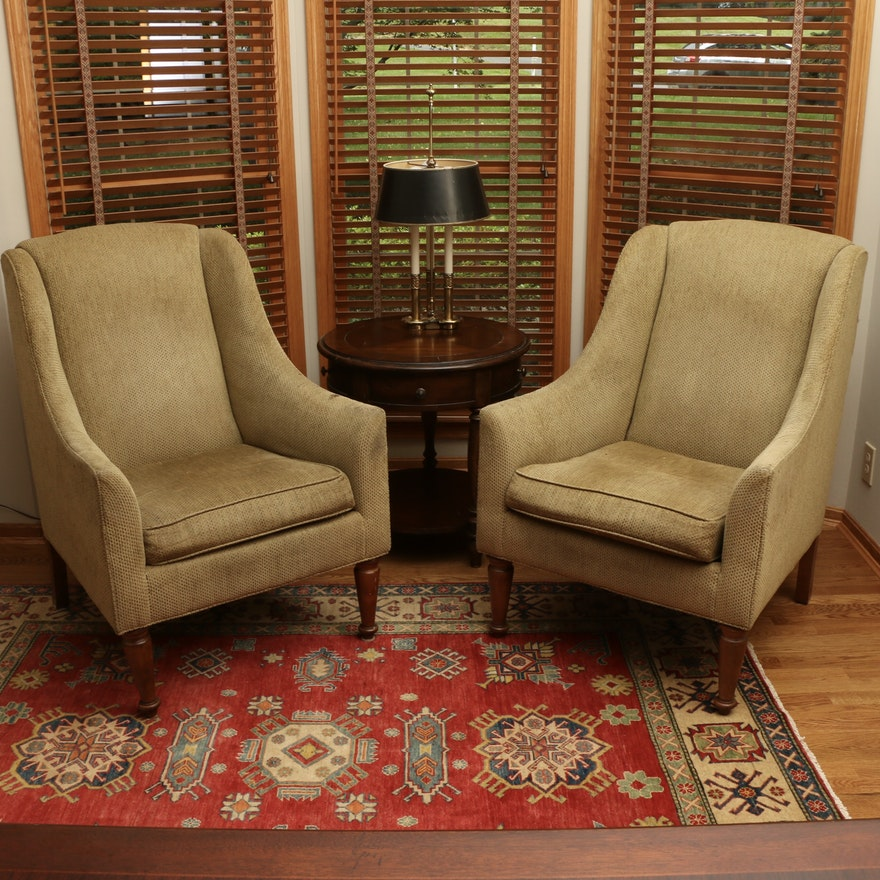 Pair of Ethan Allen Upholstered Wing Chairs