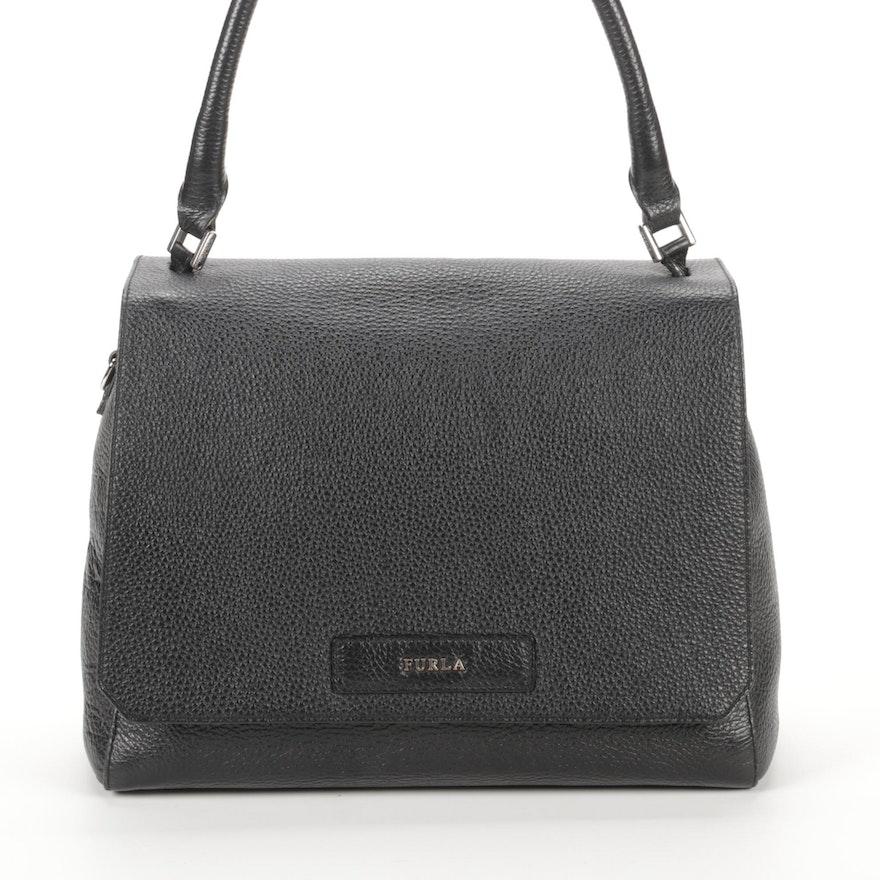 Furla Black Pebbled Leather Front-Flap Handbag