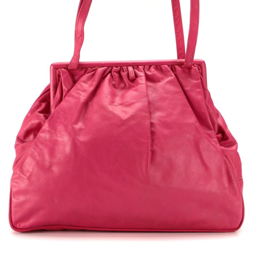 Shirl Miller Pleated Frame Shoulder Bag in Magenta Smooth Leather