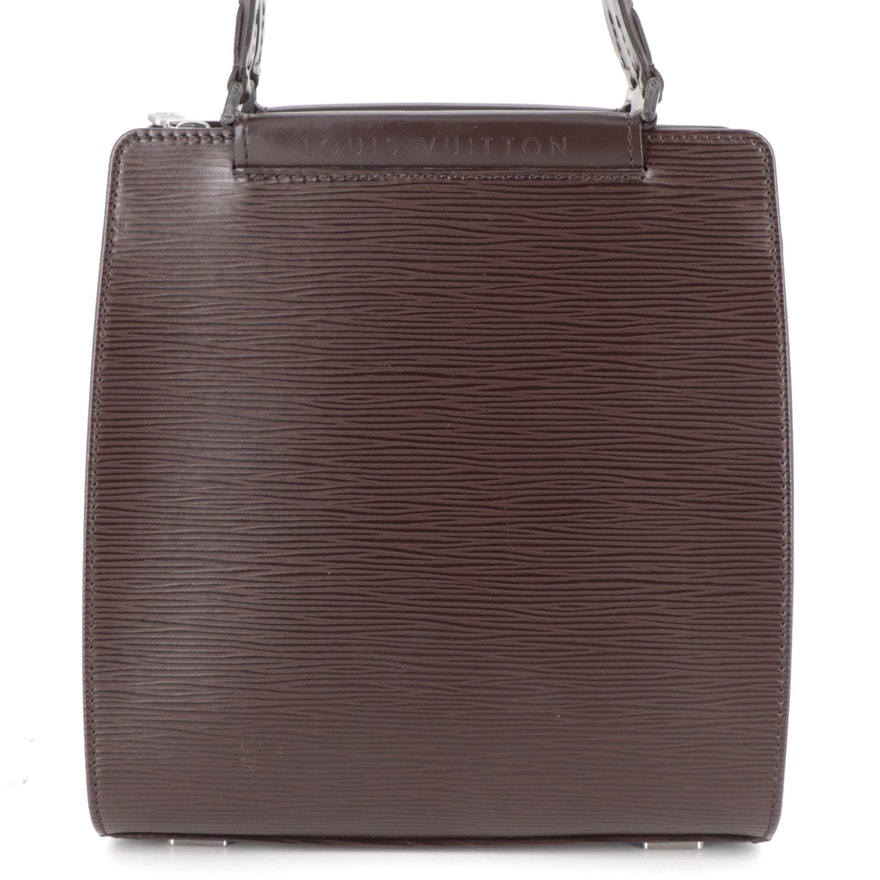 Louis Vuitton Figari PM Top Handle Bag in Moka Epi and Smooth Leather