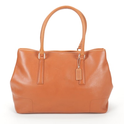 Coach Hamptons Tan Leather Satchel with Matching Zip Pouch