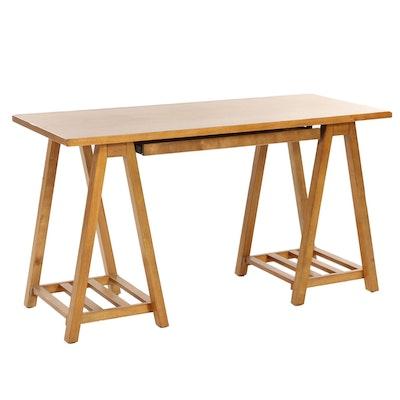 Contemporary Sawhorse Style Wooden Computer Desk