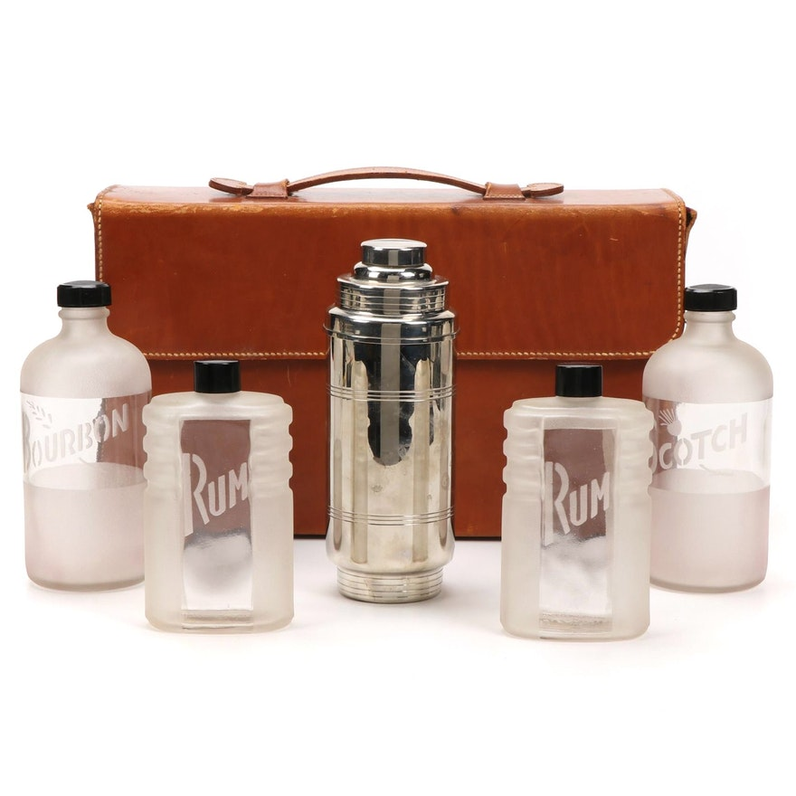 Art Deco Travel Cocktail Set in Leather Case, Early to Mid 20th Century