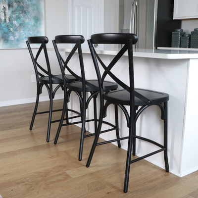 Three Contemporary Metal Counter-Height Barstools