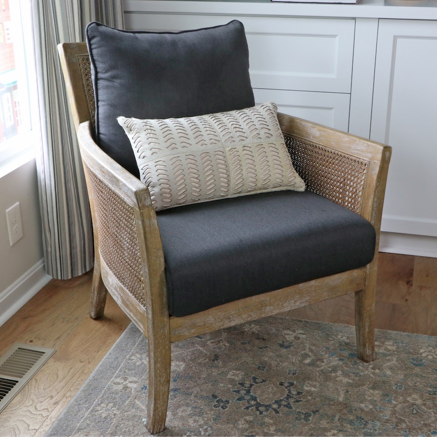 """Uttermost """"Encore"""" Cane Armchair with Safavieh Faux Leather Accent Pillow"""