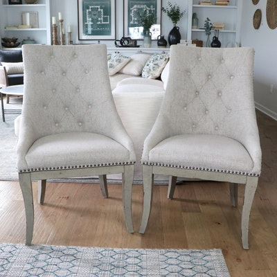 Pair of Button Tufted and Nail Tack Upholstered Side Chairs