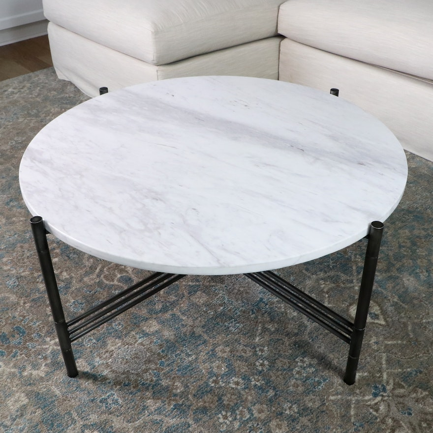 Madison Park Metal Table with Faux Marble Top