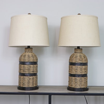 Pair of Table Lamps with Seagrass Rope Bases