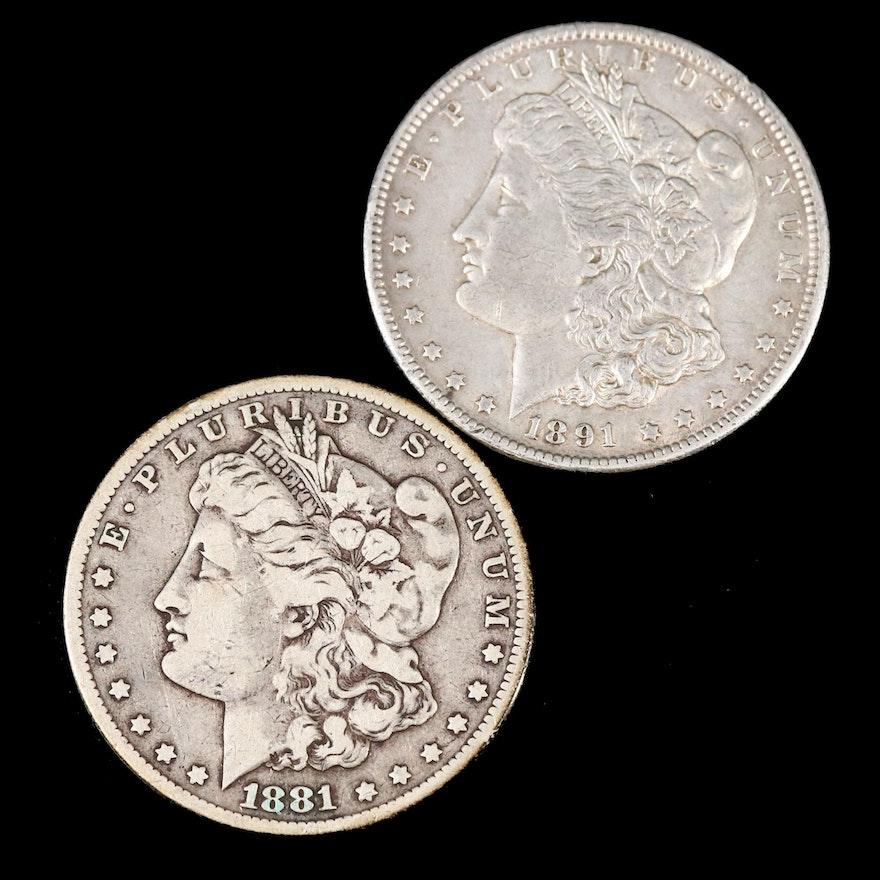 Key Dates 1881-CC and 1891-CC Morgan Silver Dollars