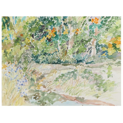 """Sheila Bonser Watercolor Painting """"Sycamores and Chicory"""""""