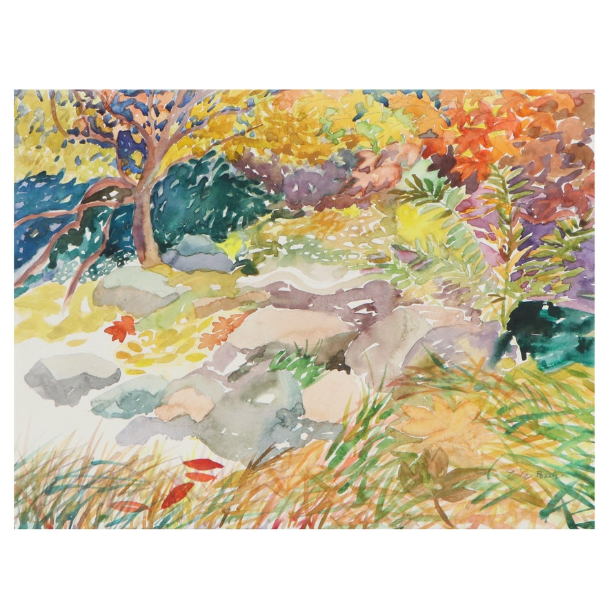 """Sheila Bonser Watercolor Painting """"Leaves in the Water"""""""