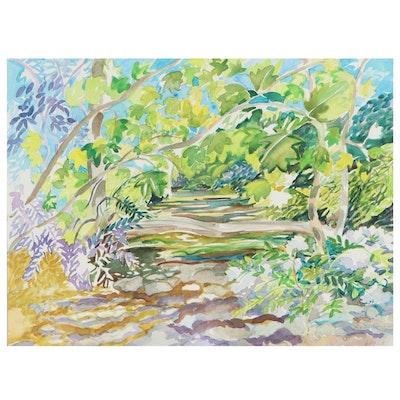 "Sheila Bonser Watercolor Painting ""Midsummer,"" 2013"