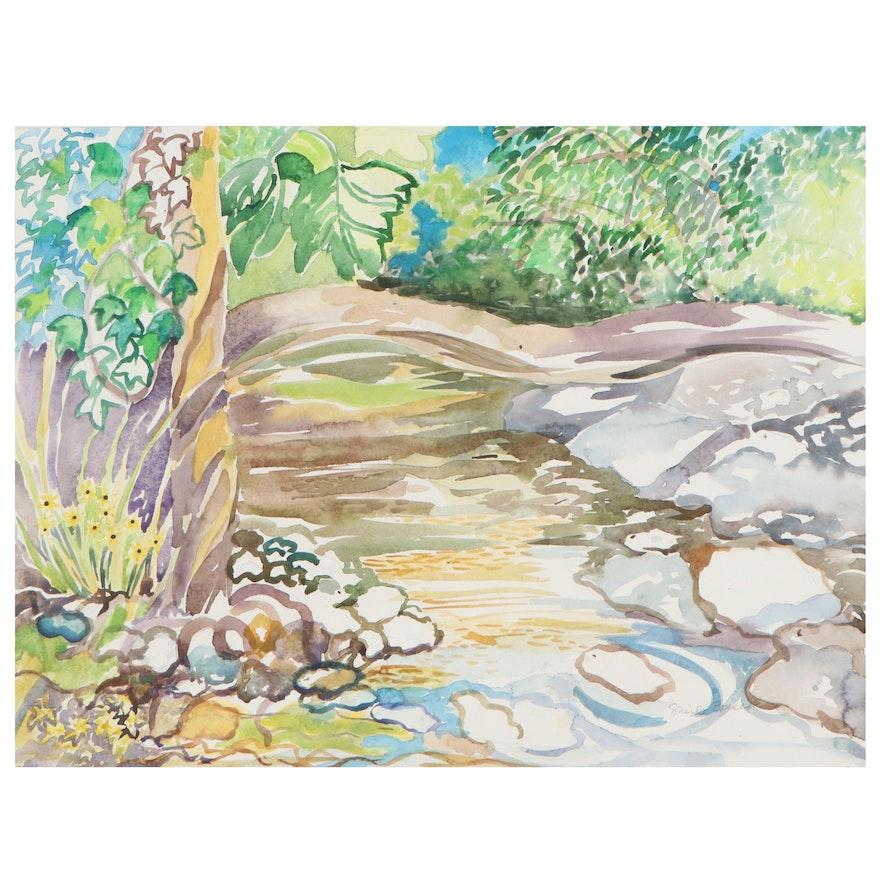 Sheila Bonser Creek Landscape Watercolor Painting